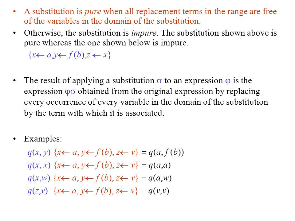 A substitution is pure when all replacement terms in the range are free of the variables in the domain of the substitution.
