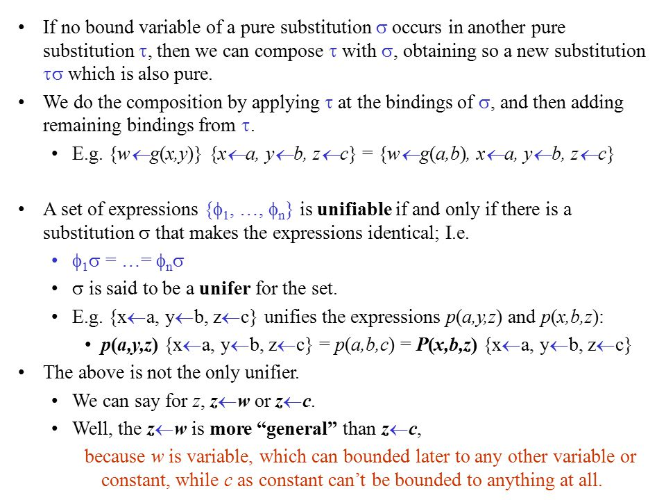 If no bound variable of a pure substitution  occurs in another pure substitution , then we can compose  with , obtaining so a new substitution  which is also pure.