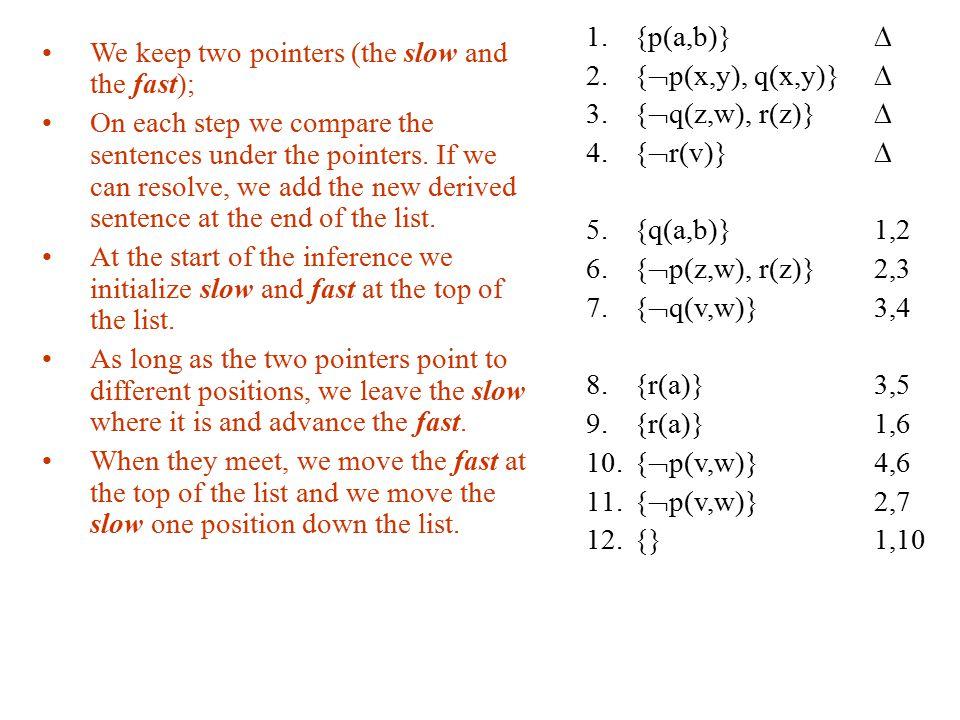 {p(a,b)}  {p(x,y), q(x,y)}  {q(z,w), r(z)}  {r(v)}  {q(a,b)} 1,2. {p(z,w), r(z)} 2,3.