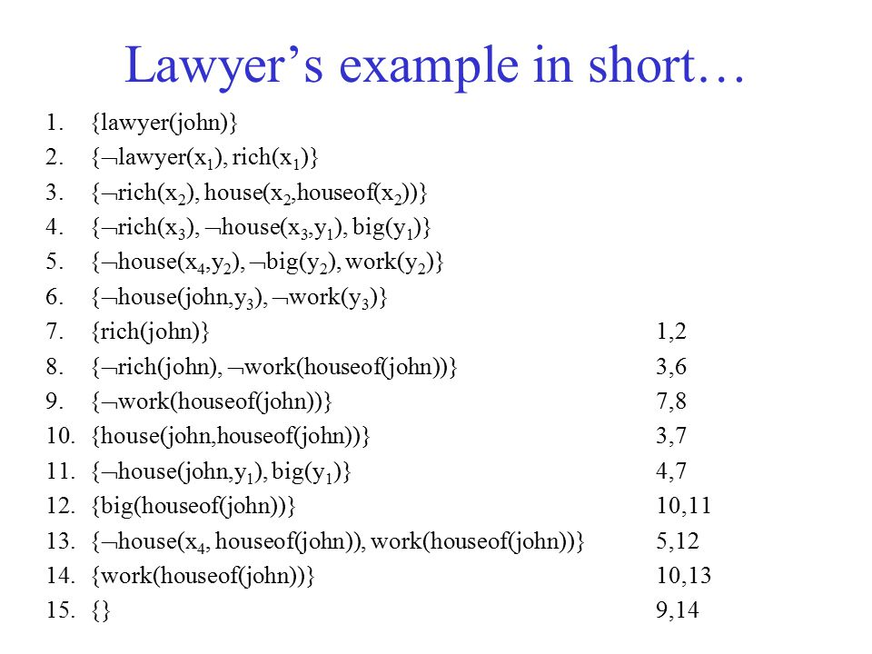 Lawyer's example in short…