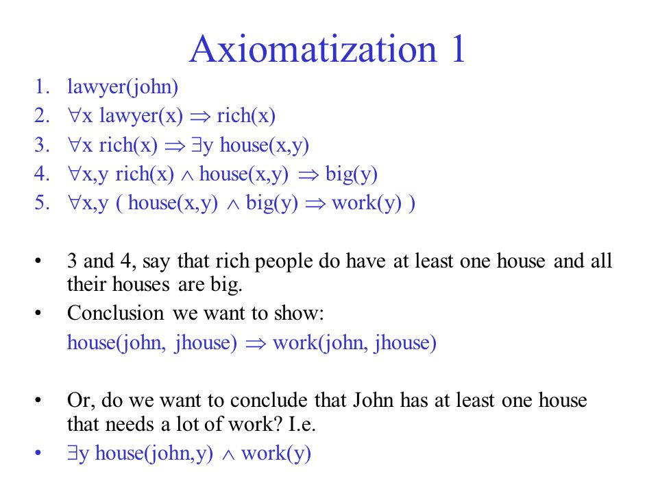 Axiomatization 1 lawyer(john) x lawyer(x)  rich(x)