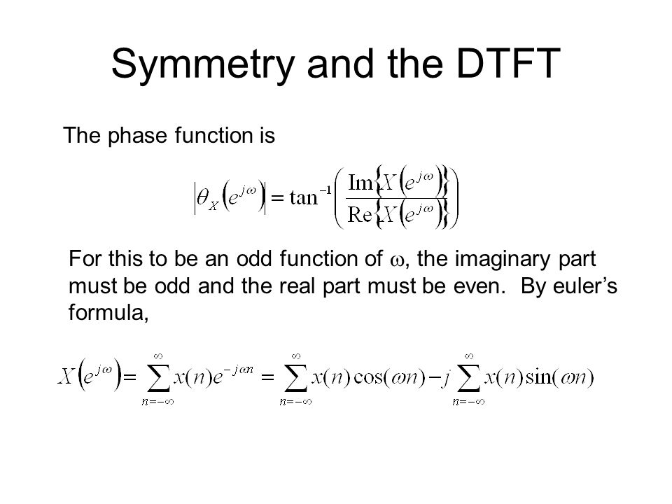 Symmetry and the DTFT The phase function is