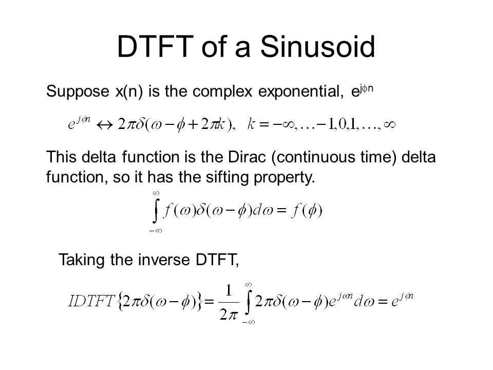 DTFT of a Sinusoid Suppose x(n) is the complex exponential, ejfn