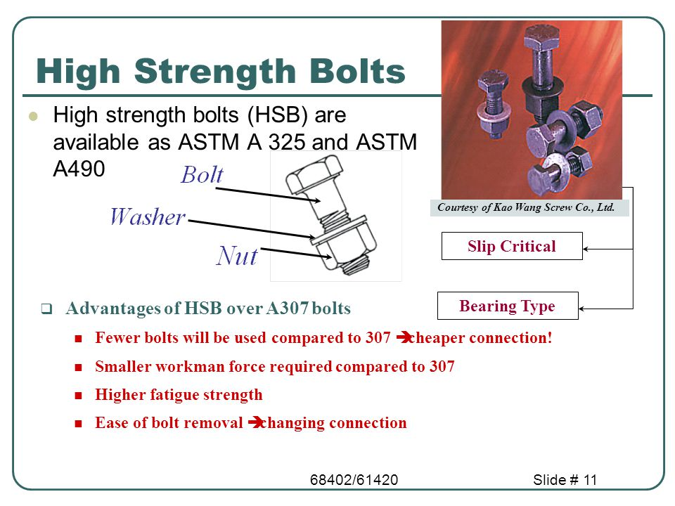 High Strength Bolts High strength bolts (HSB) are available as ASTM A 325 and ASTM A490. Slip Critical.