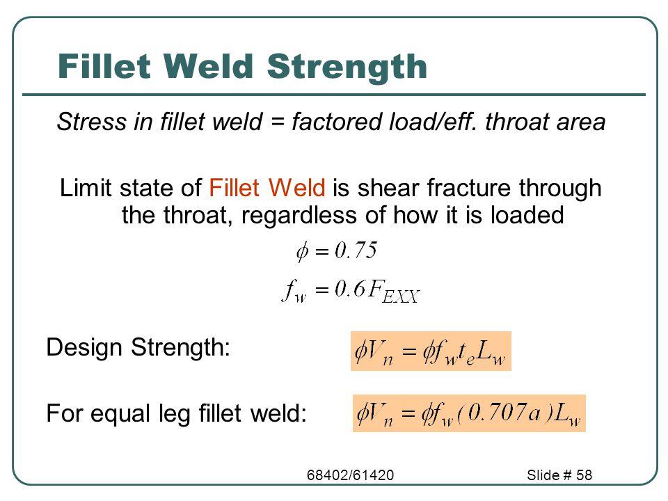 Stress in fillet weld = factored load/eff. throat area