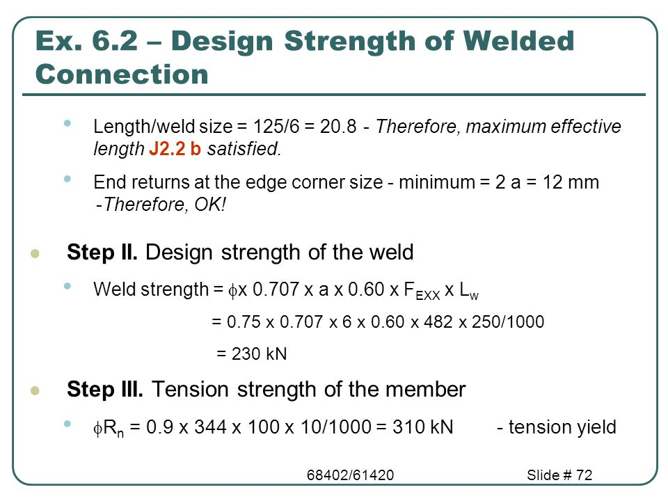 Ex. 6.2 – Design Strength of Welded Connection