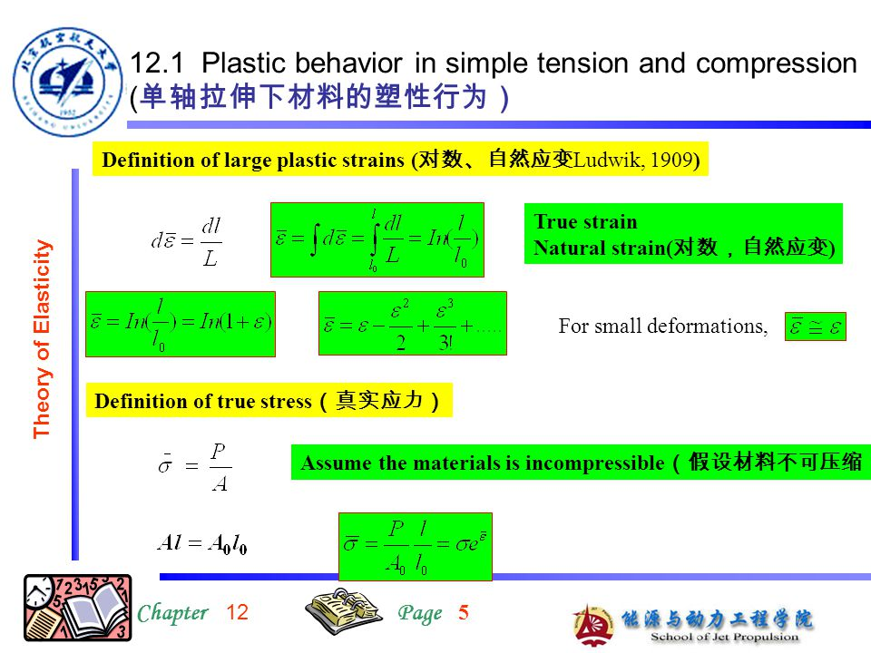 12.1 Plastic behavior in simple tension and compression (单轴拉伸下材料的塑性行为)