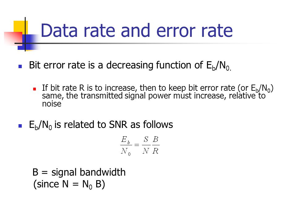 Data rate and error rate