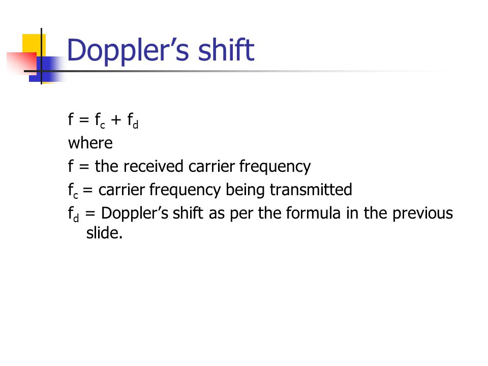 Doppler's shift f = fc + fd where f = the received carrier frequency