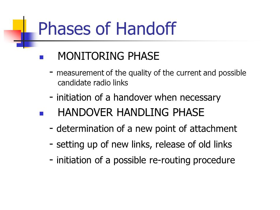 Phases of Handoff MONITORING PHASE