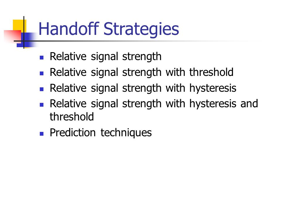 Handoff Strategies Relative signal strength