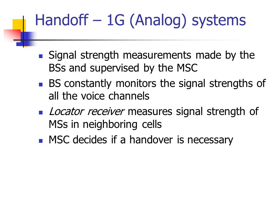 Handoff – 1G (Analog) systems