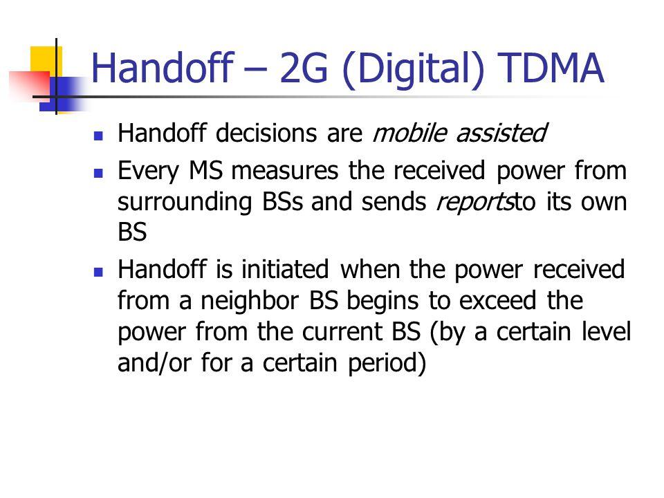 Handoff – 2G (Digital) TDMA