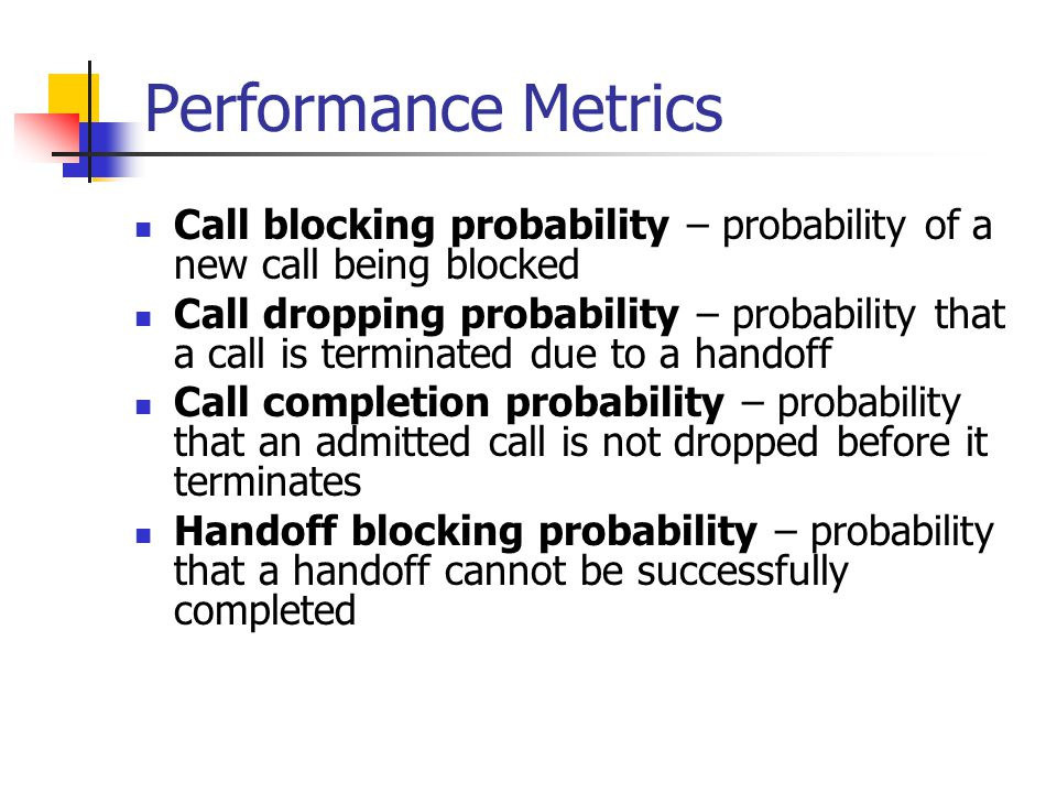 Performance Metrics Call blocking probability – probability of a new call being blocked.