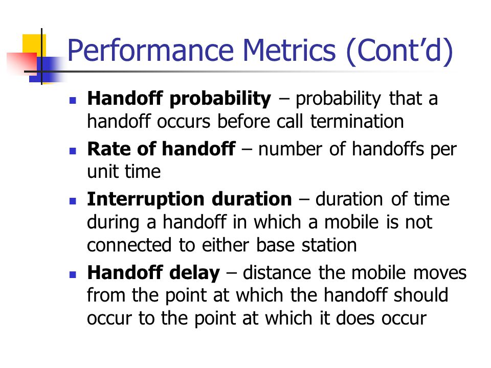 Performance Metrics (Cont'd)