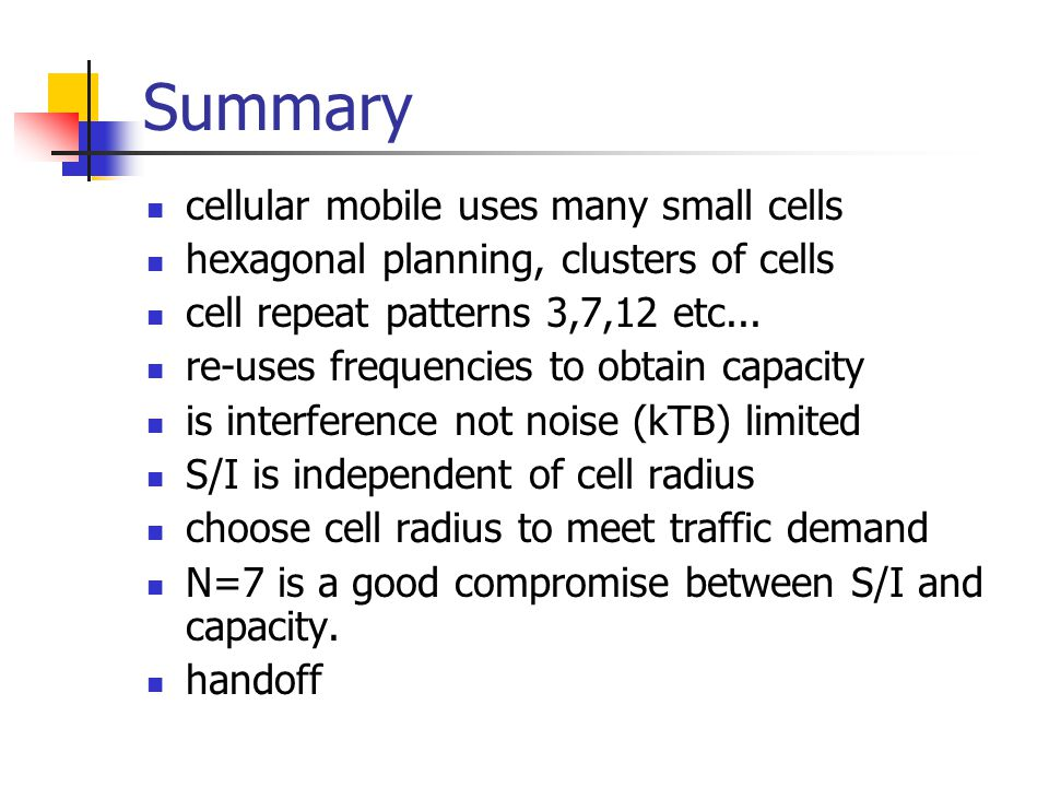 Summary cellular mobile uses many small cells