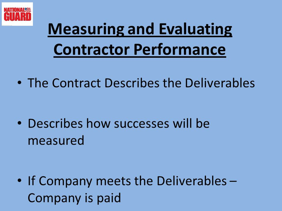 Measuring and Evaluating Contractor Performance