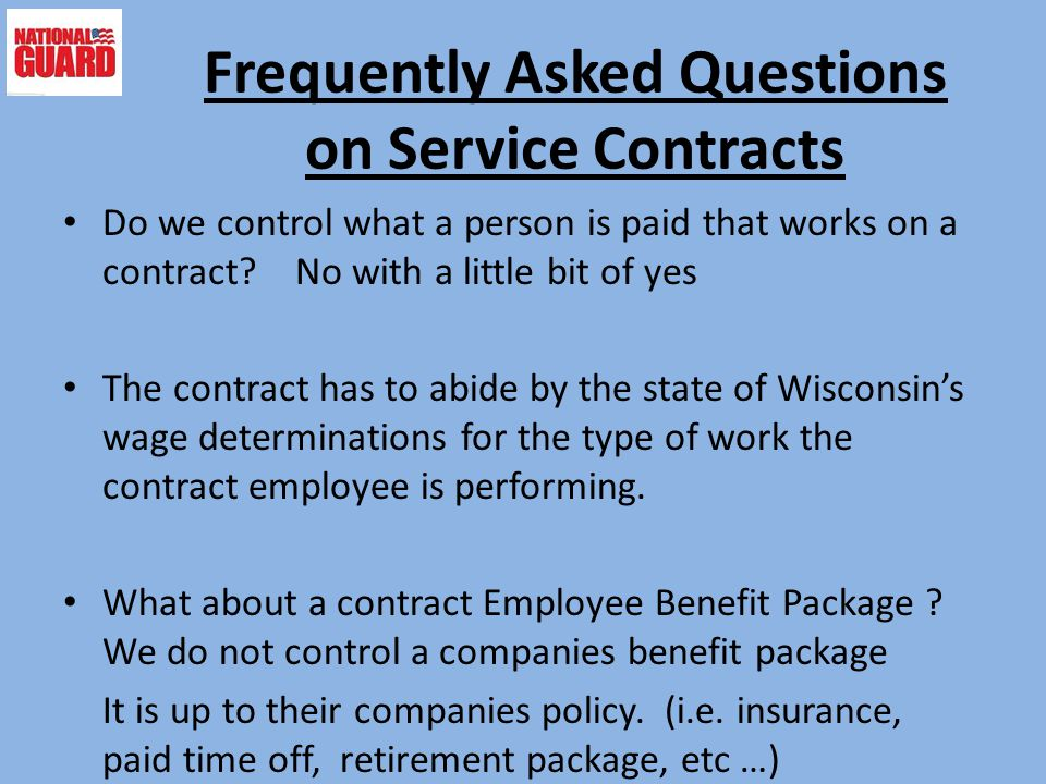 Frequently Asked Questions on Service Contracts