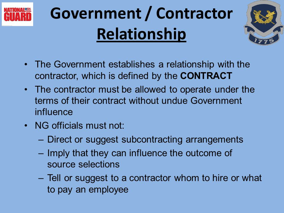 Government / Contractor Relationship