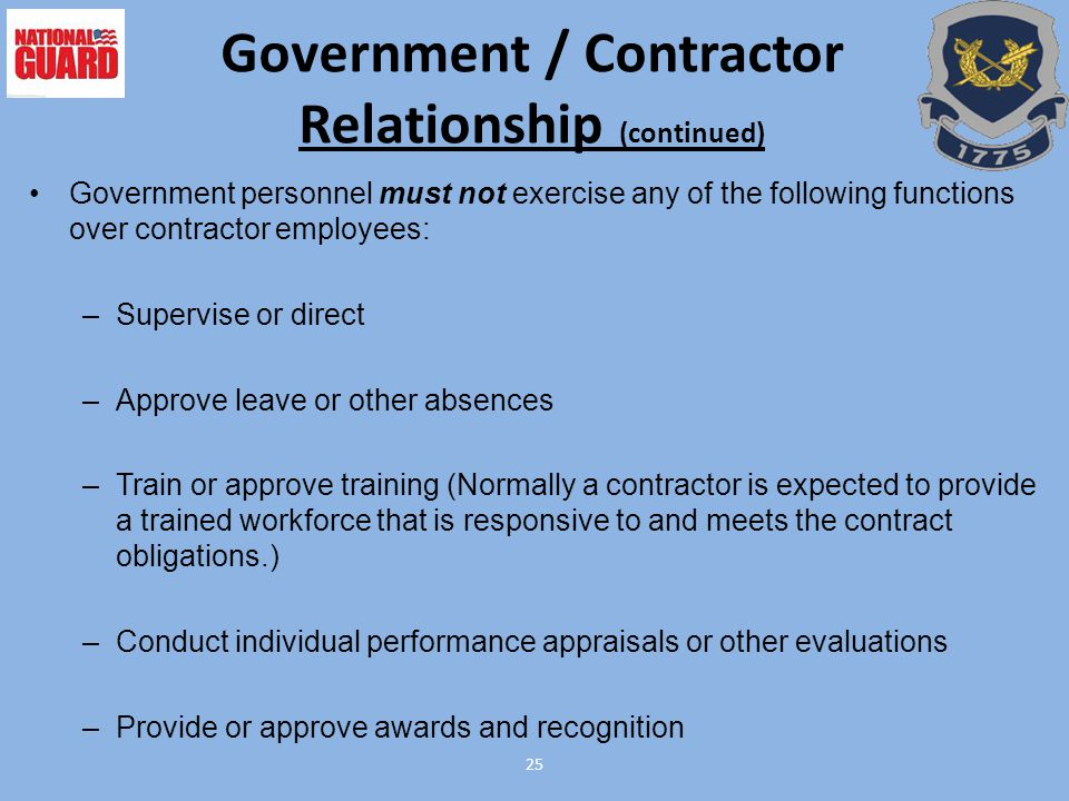 Government / Contractor Relationship (continued)