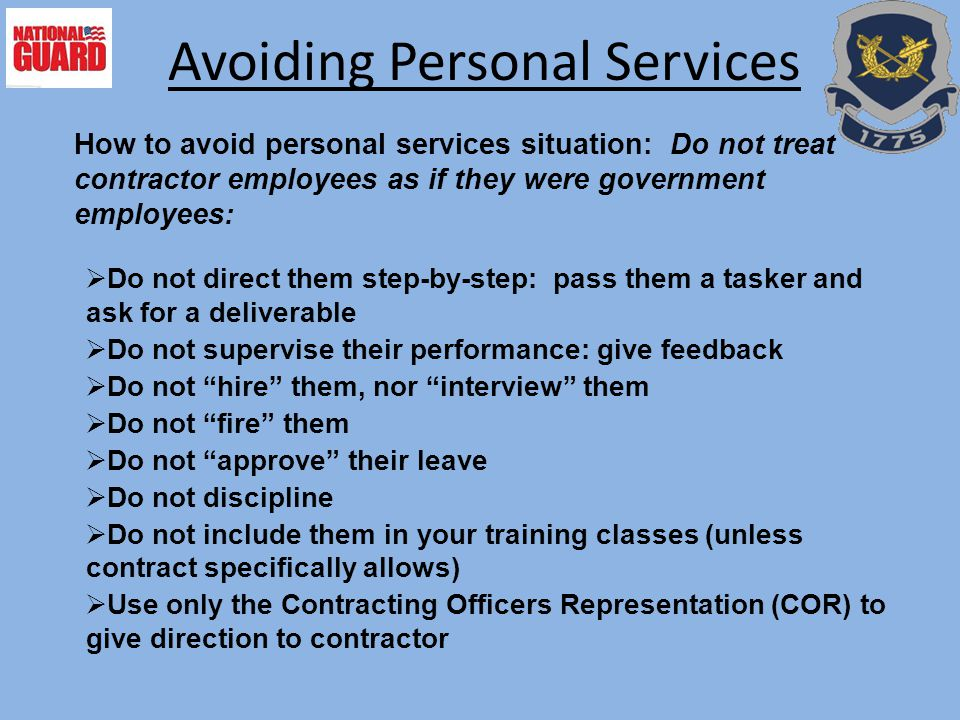 Avoiding Personal Services