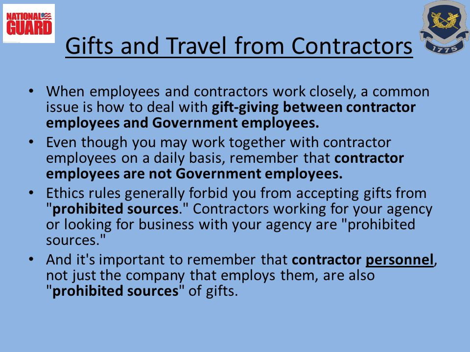 Gifts and Travel from Contractors