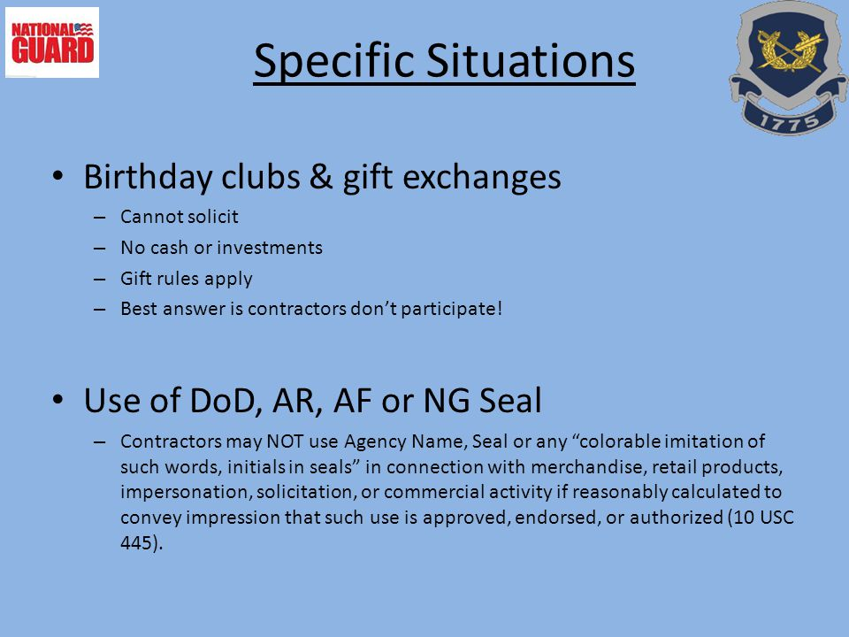 Specific Situations Birthday clubs & gift exchanges