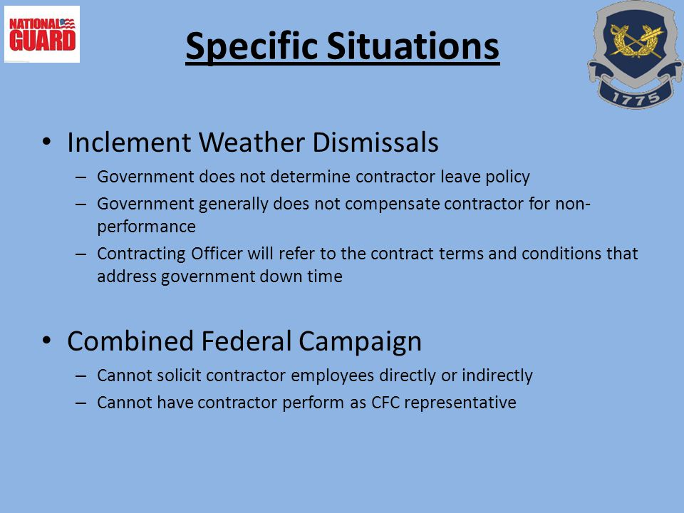 Specific Situations Inclement Weather Dismissals