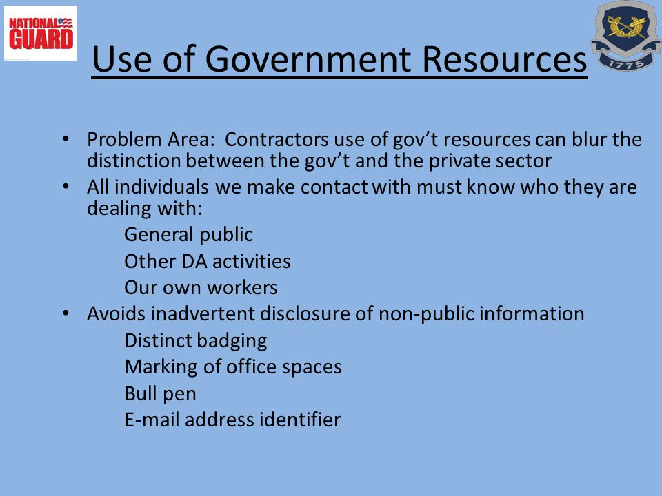 Use of Government Resources