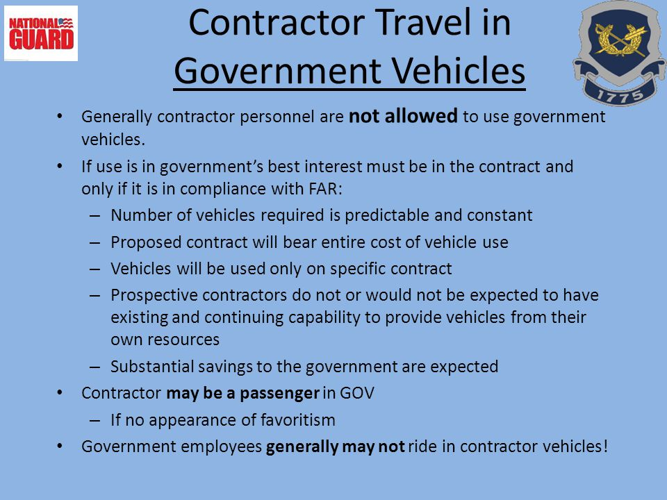 Contractor Travel in Government Vehicles