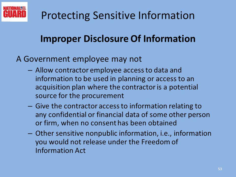 Improper Disclosure Of Information