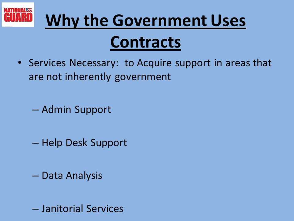 Why the Government Uses Contracts