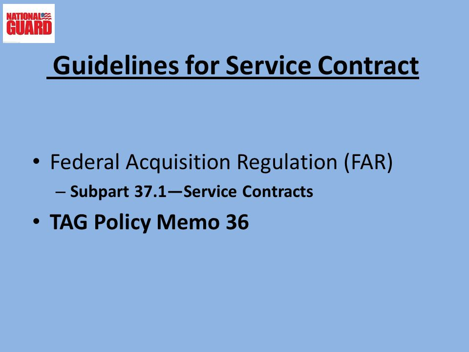 Guidelines for Service Contract