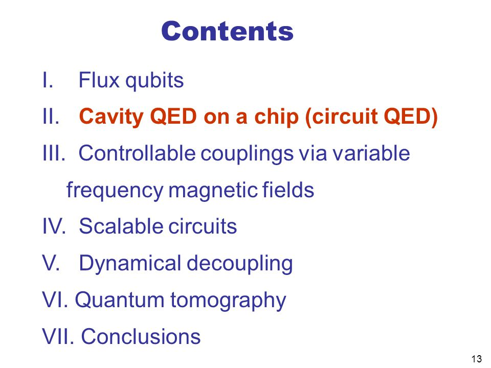 Contents I. Flux qubits Cavity QED on a chip (circuit QED)