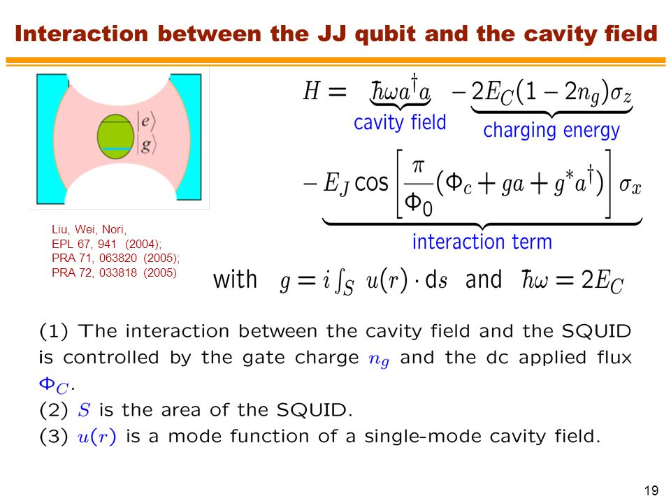 Interaction between the JJ qubit and the cavity field