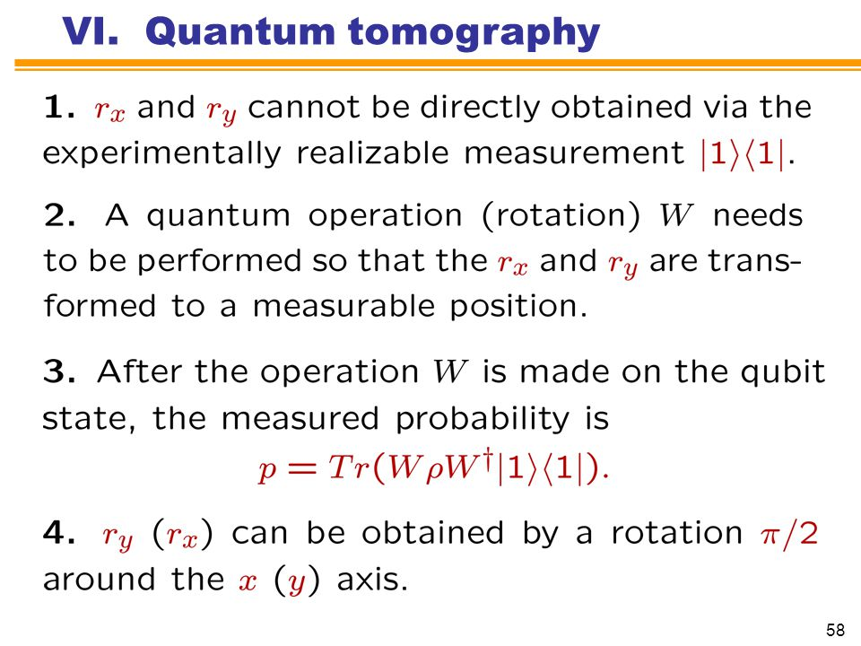 VI. Quantum tomography