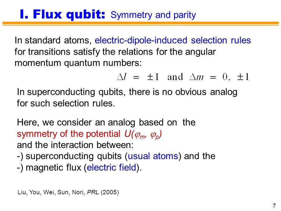 I. Flux qubit: Symmetry and parity