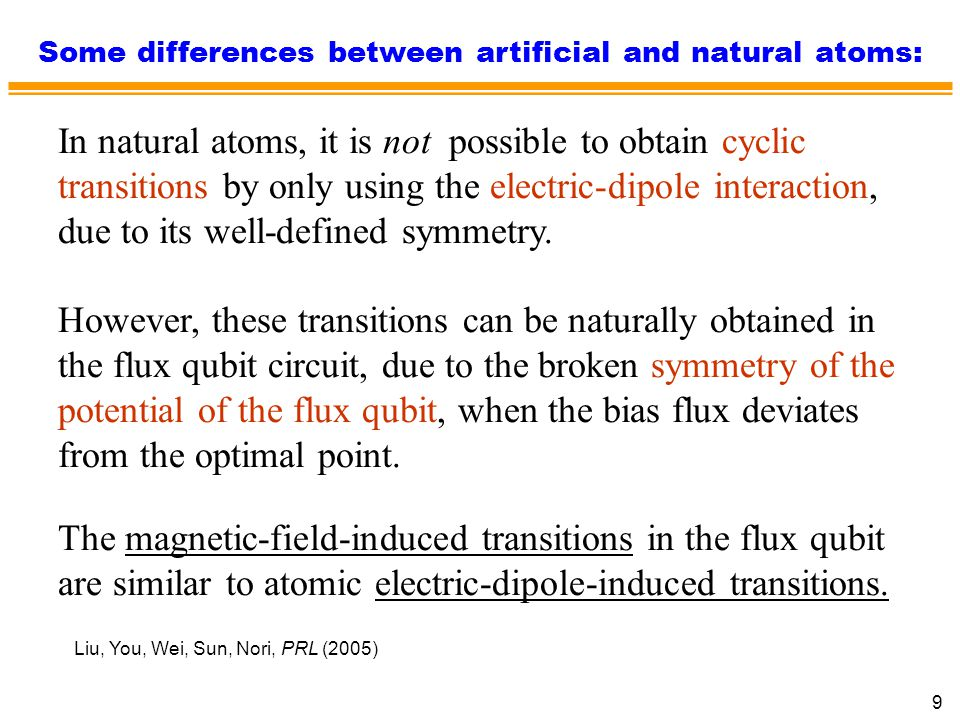 Some differences between artificial and natural atoms: