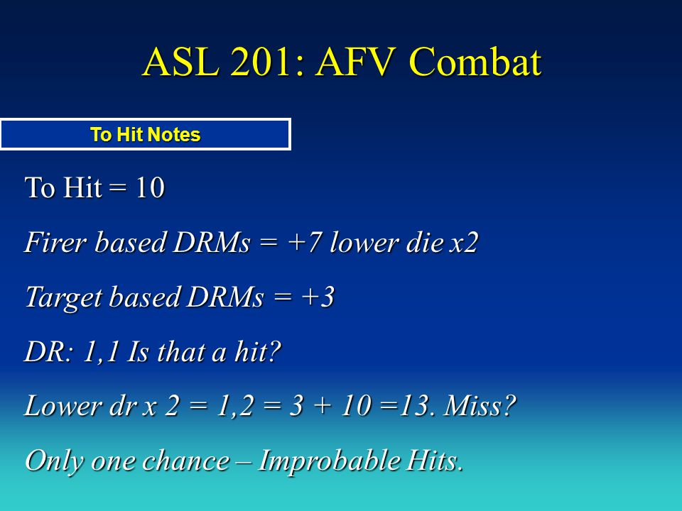 ASL 201: AFV Combat To Hit = 10 Firer based DRMs = +7 lower die x2