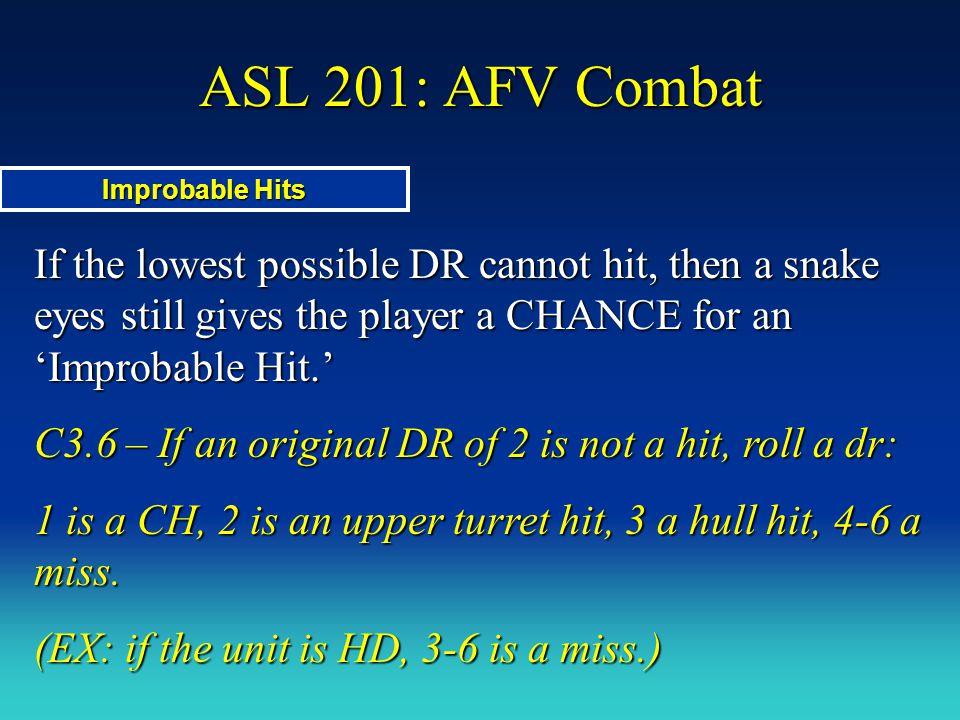 ASL 201: AFV Combat Improbable Hits.