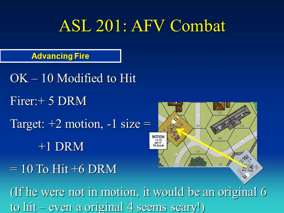 ASL 201: AFV Combat OK – 10 Modified to Hit Firer:+ 5 DRM