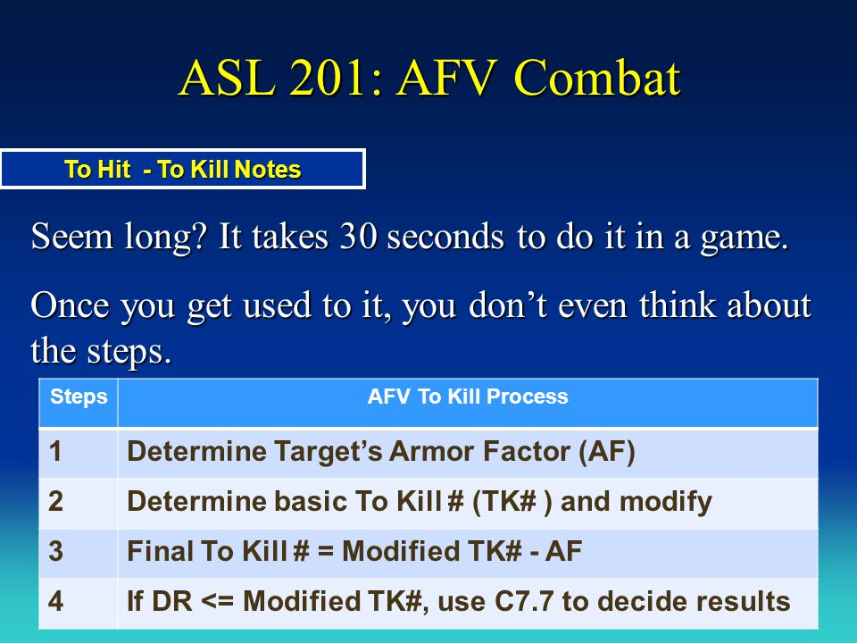 ASL 201: AFV Combat Seem long It takes 30 seconds to do it in a game.