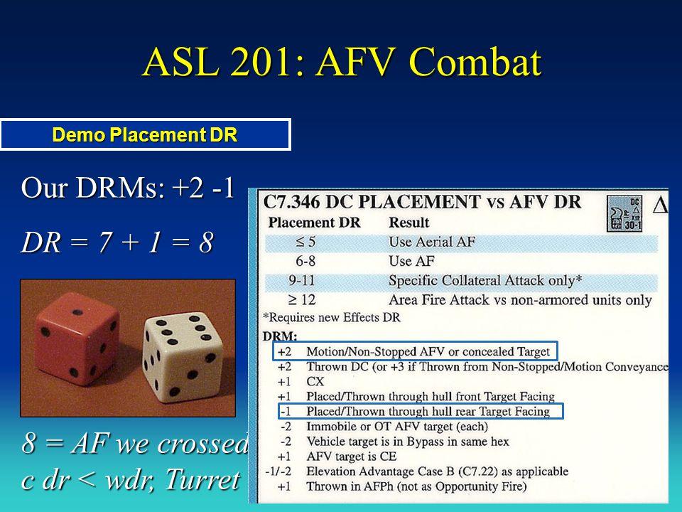 ASL 201: AFV Combat Our DRMs: +2 -1 DR = 7 + 1 = 8