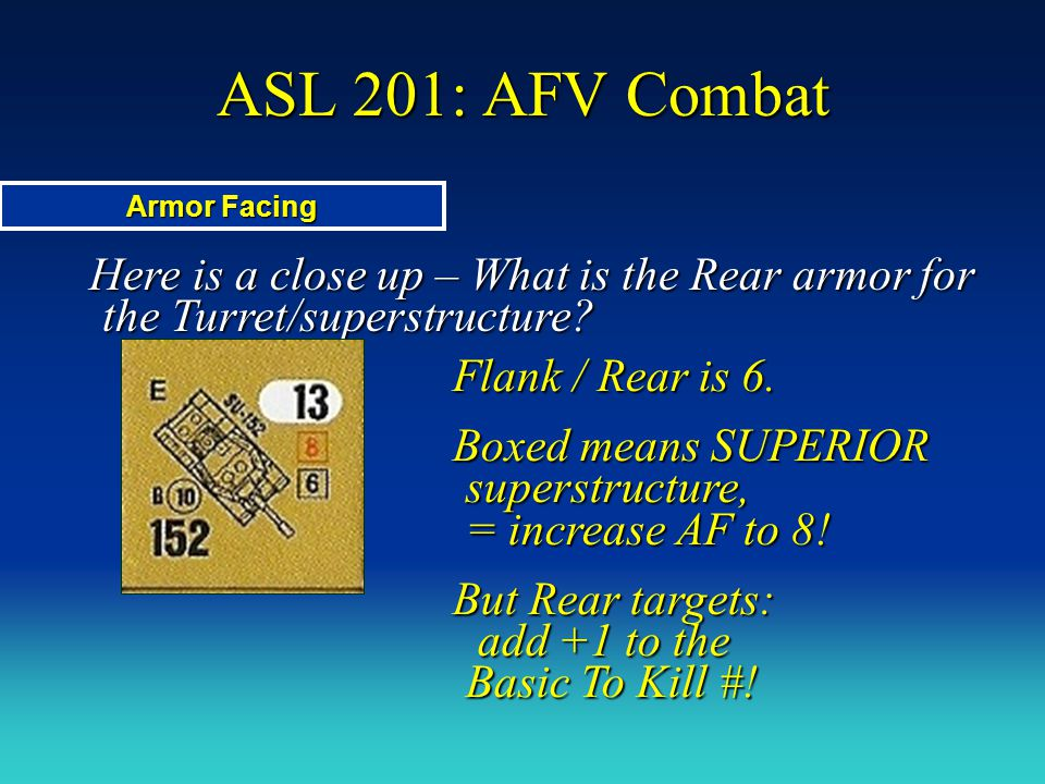 ASL 201: AFV Combat Armor Facing. Here is a close up – What is the Rear armor for the Turret/superstructure
