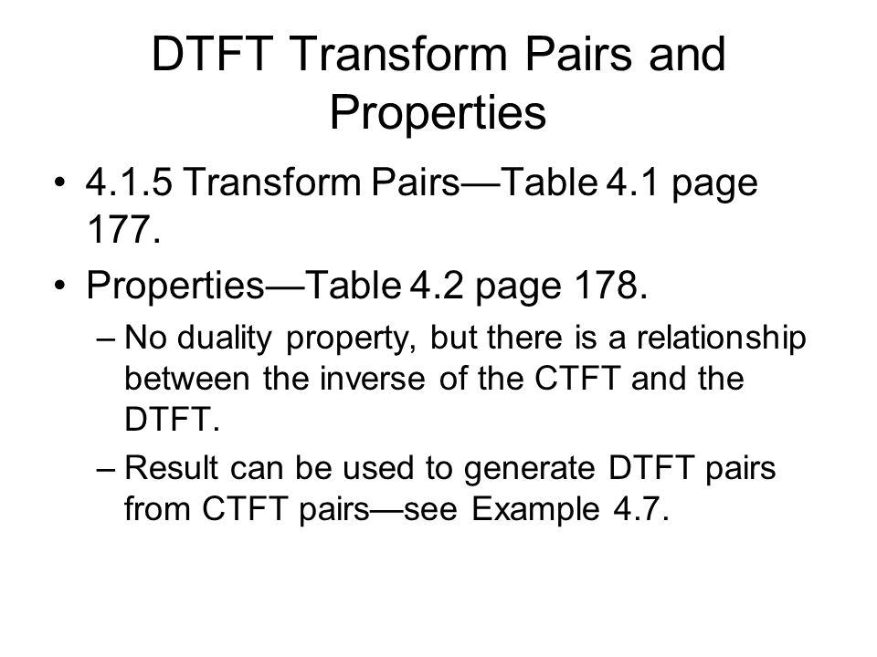 DTFT Transform Pairs and Properties