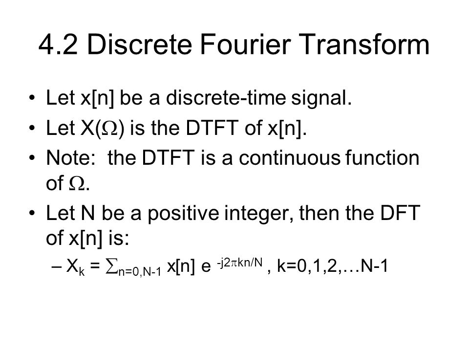 4.2 Discrete Fourier Transform