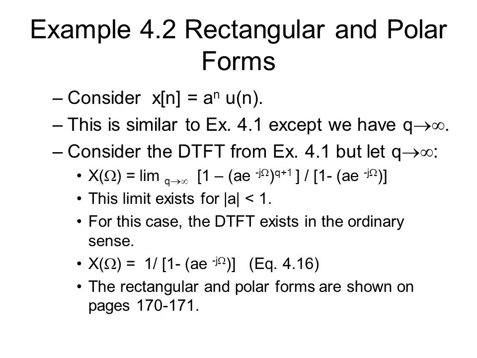 Example 4.2 Rectangular and Polar Forms