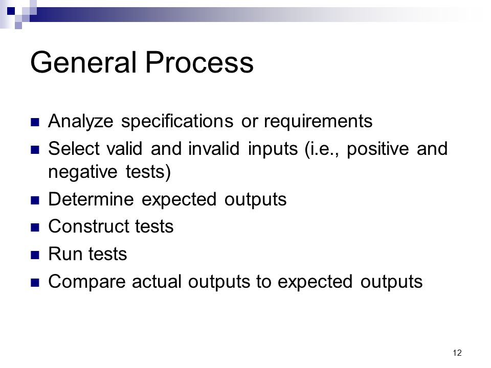 General Process Analyze specifications or requirements