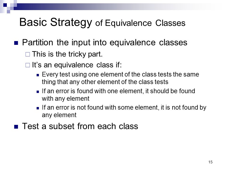 Basic Strategy of Equivalence Classes