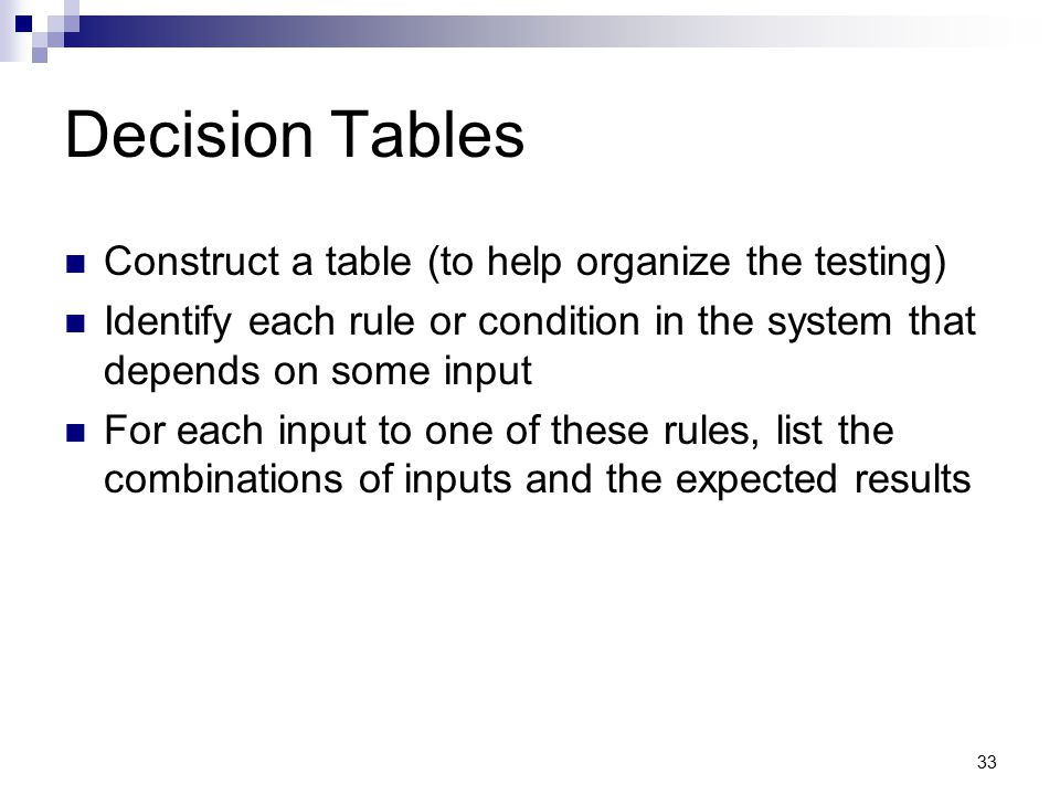 Decision Tables Construct a table (to help organize the testing)